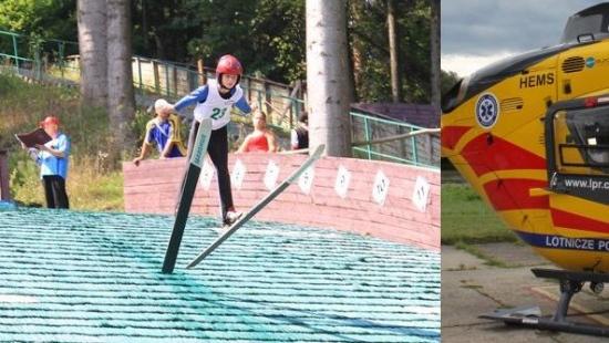 Wypadek na skoczni w Zagórzu. 10-letni chłopak przetransportowany śmigłowcem LPR do szpitala w Rzeszowie