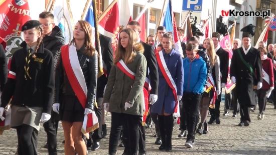 """KROSNO: """"Współpraca i wolność to fundamenty niepodległościowego zrywu"""". Krośnianie uczcili 99. rocznicę odzyskania przez Polskę niepodległości (FILM)"""